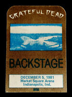 Grateful Dead Backstage Pass Indianapolis Indiana IN Market Sq 12/5/81 12/5/1981