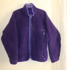Patagonia Vintage 90s -Sz L ROYAL PURPLE Deep Pile Fleece Zip-Up Jacket Coat