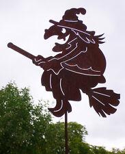 HEXE FLIEGEND auf Besen Hexen 40 cm Rost Edelrost Metall Figur Gartenstecker