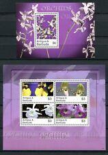 ANTIGUA 2007 Orchideen Orchids Blumen Flowers 4476-79 + Block 646 **