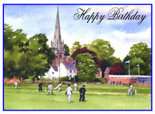CRICKET VILLAGE GREEN PAINTING BIRTHDAY CARD FREE POST 1ST CLASS