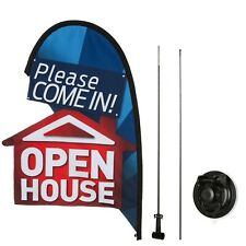 Open House Signs, Real Estate Flag Kit with Suction, Open House Please Come In