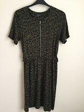 Warehouse Khaki Green And Black Spot Skater Dress Size 16