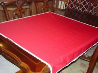 """Handmade Vintage Christmas Tablecloth - Square - Red - 43"""""""