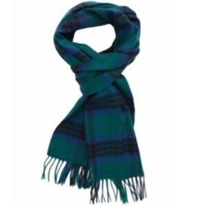 Nordstrom Tartan Plaid Cashmere Fringe Scarf NWT Men's One Size Black/Blue