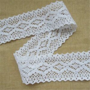 10m Vintage style Cotton crochet lace trim WHITE Ribbon Sewing Crafts quilting