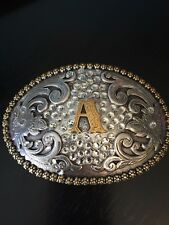 Nocona Initial A Belt Buckle Crystal Bling and Fancy Body Two Tone