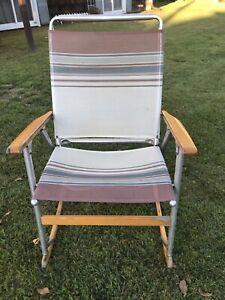 Vintage The Telescope Folding Co. Furniture Mesh Rocking Chair Lawn Rocker VGUC