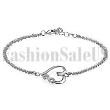 925 Silver Women's Ladies Matching Love Heart Infinity Cut CZ Chain Bracelet USA