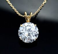 Created Round Diamond 14K Yellow Gold Pendant With Cable Link Chain 1.00Ct