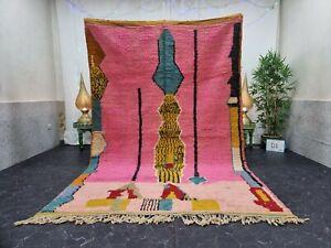 """Moroccan Boujaad Handmade Rug 6'2""""x9'8"""" Berber Abstract Pink Blue Wool Rug"""