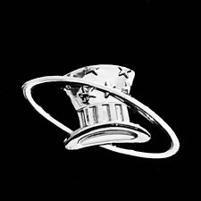 EASTERN AIRLINES EDDIE RICKENBACKER HAT IN THE RING SERVICE PIN 10K WHITE GOLD