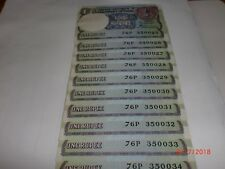 INDIA PAPER MONEY - 10 X RE. 1/- OLD NOTES - S.VENKITARAMANAN -RARE- A-48 # AA13
