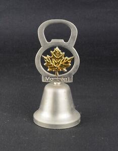Cloche clochette de table souvenir en métal argenté Canada Montréal déco