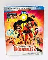 Incredibles 2 Blu Ray + DVD + Digital Code Slipcover Disney Pixar NEW