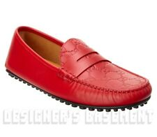 GUCCI mens 9G* Red GUCCISSIMA leather Driving Moccasins shoes NIB Authentic $580