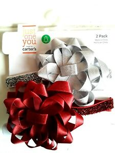 NEW Caters 2pc  Red and Silver Infant Bow Headband ~SHIPS FREE FAST~