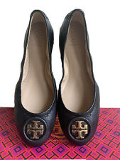 TORY BURCH ALLIE BLACK LEATHER GOLD LOGO BALLET FLAT MSRP$250
