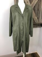 Cabi Womens Large Olive 100% Cotton Button Front 3/4 Sleeve Tunic Top Shirt CC