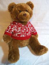 "AEROPOSTALE TEDDY BEAR 16"" Red Hoodie A87 Logo Brown Plush Stuffed Animal"