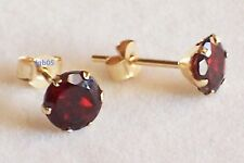 New Ladies 9ct Yellow Gold Small Garnet Studs Earrings 6mm Hallmarked