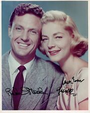 Robert Stack+Lauren Bacall Hand Signed 8x10 Color Photo+Coa Signed By Both