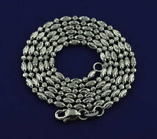 5.50 Gram 18K White Gold diamond cut bead Necklace Chain 18 Inches made in ITALY