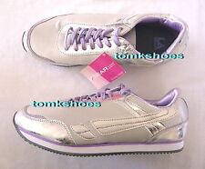 Metallic Silver L.A. Gear Sneakers Size 11 Purple Laces & Details Retro Shoes