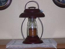 Crackle Black w/Red Large Candle Lantern-Tin, Mason Jar Globed Lantern