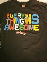 LEGO Movie Emmet Everything Is Awesome Licensed Black T-Shirt Size XL