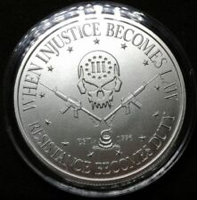 1 oz Silver Punisher Round 3 Percenter AR-15 Deuce Four Skull 2nd Amendment Coin