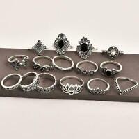 15 teile/satz Finger Ring Vintage Hohl Lotus Punk Knuckle Schmuck Ringe W4Z5