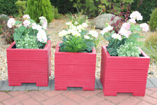 Set of Three 32cm Square Wooden Garden Planter Pot Painted in Valspar Red