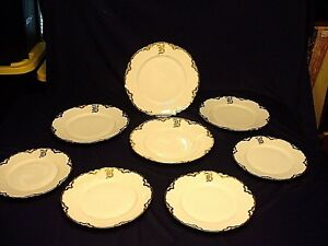 """8 Antique Th. Haviland Limoges Schleiger #25 Plates with """"B"""" Initial"""