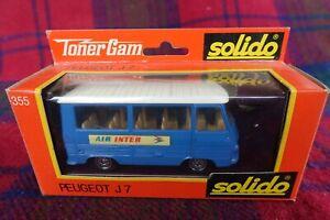 "SOLIDO ""Toner Gam"" #355 Peugeot J7 ""Air Inter"" blue (MIB) Made in France"