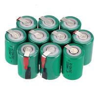 10x Green 4/5 Sub C SC 1.2V 2200mAh Ni-Cd NiCd Rechargeable Batteries & Tap