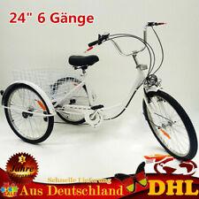 """24"""" 3 Rad Erwachsene Dreirad mit Lampe Korb 6 Geschwindigkeit Fahrrad Trike DHL"""