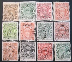 INDIA COCHIN STATE LOT OF 12 x ASSORTED 1933-38 ERA STAMPS FROM AN OLD STOCKBOOK