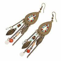 Women's Vintage Antique Bali Style Long Feather Tassel Drop Dangle Earrings F3U9
