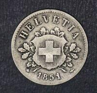 1851 Switzerland 10 Rappen Coin Helvetia