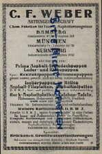 NÜRNBERG, Werbung 1925, C. F. Weber AG Chem. Fabriken für Teer Asphalterzeugniss