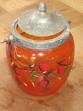 Ancien pot à biscuit ou bonbons verre émaillé vintage années 50 french antiique