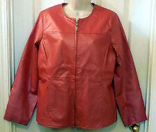 Women SUSAN GRAVER Red faux leather JACKET COAT medium L160