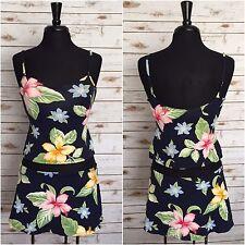 JANTZEN Vintage Two-Piece Floral Hawaiian Print Swimsuit Skirt Size 10