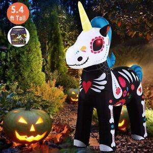 Halloween Inflatable Skeleton Unicorn Party Outdoor Garden Lawn Decoration 5.4FT