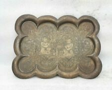 Antique Old Hand Engraved Brass Hindu Temple Worship Tray Plate Platter MP