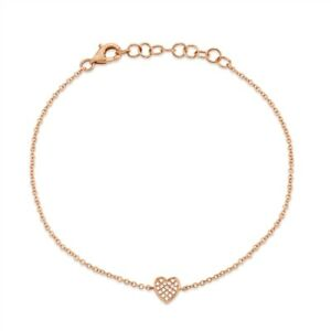 14K Rose Gold Diamond Heart Anklet Women Natural Round Pave Adjustable 0.04 CT