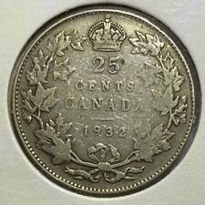 1932 Canada 25 Cents Quarter Dollar Silver Coin - King George V
