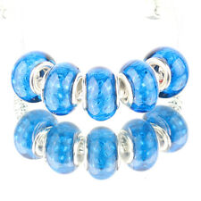 Bling plaid blue 5pcs MURANO bead LAMPWORK fit European Charm Bracelet