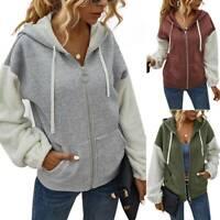 Womens Ladies Long Sleeve Hooded Coat Zip Up Casual Spring Jacket Tops Outwear